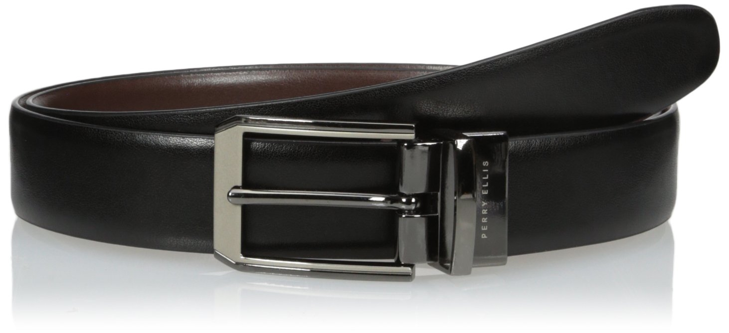 Perry Ellis Men's Perry Ellis Portfolio Men's 2 - Tone Matte and Shine Buckle Reversible Belt, Black/brown, 32