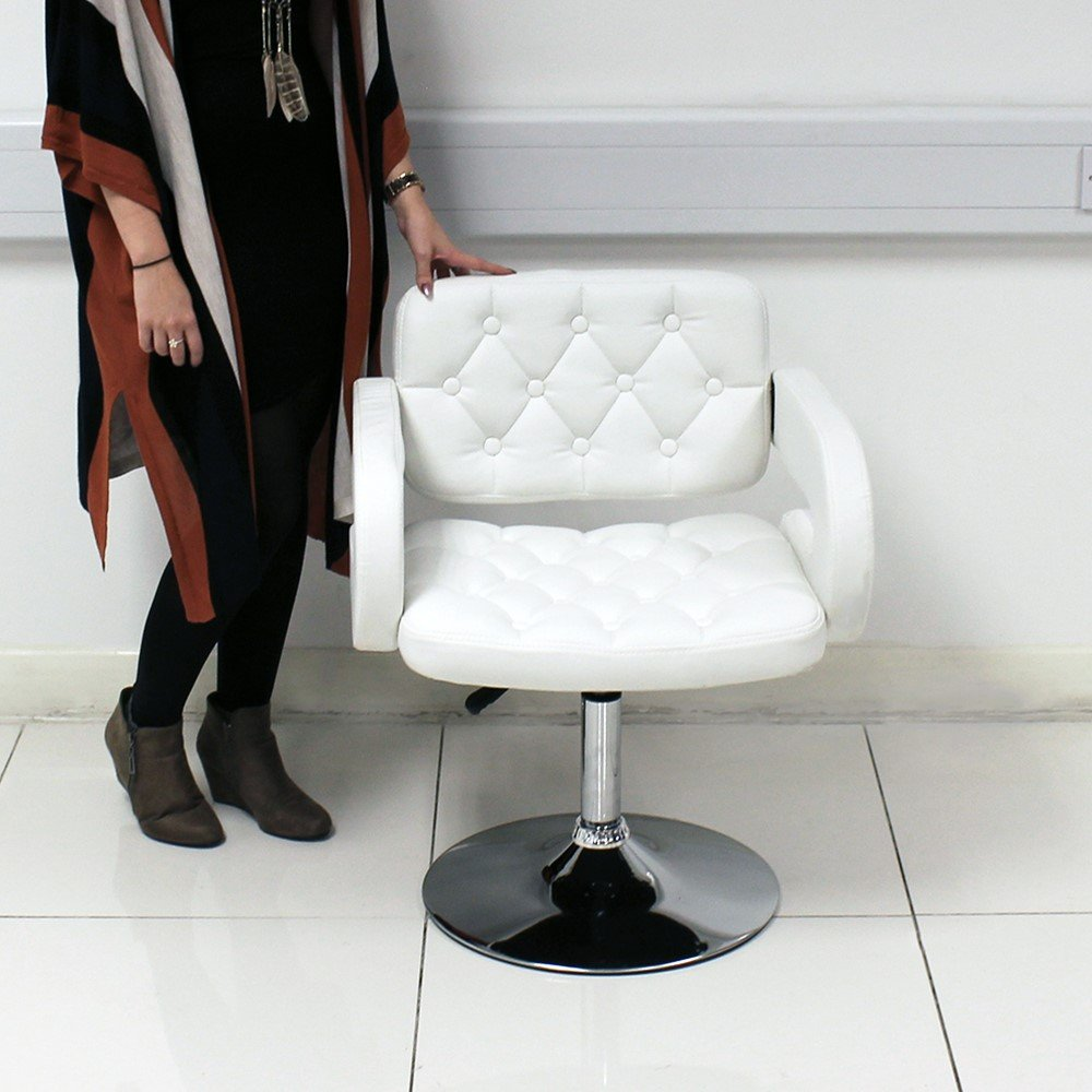 WHITE QUILTED LEATHER STYLE TUB BARBER CHAIR BEAUTY HAIRDRESSER SALON Beauty4Less SLCHAIR18