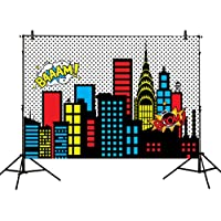 Allenjoy 7x5ft photography backdrops superhero super city skyline buildings children birthday party event banner photo studio booth background baby shower photocall