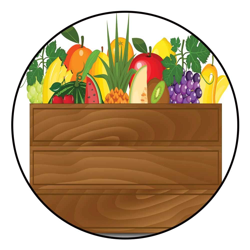 Hua Wu Chou Yoga mat Round shaperound Office Chair mat D3'6/1.1m Fresh Fruits in a Box Illustration Healthy Fruits and Vegetarian Food Banners Fresh Organic Food Healthy eating2