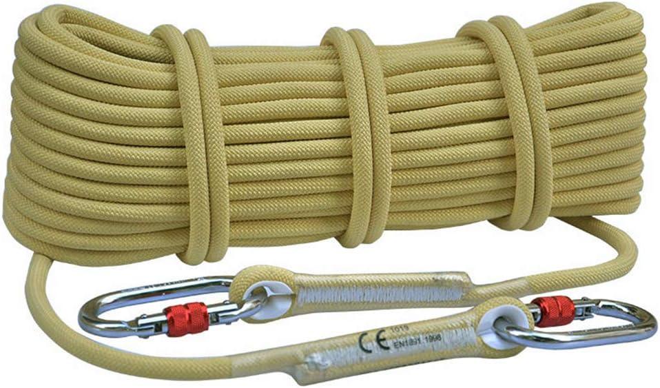 屋外ロッククライミングスタティックロープ、火災救助エスケープラッペリングロープ、高高度クライミング耐摩耗性サバイバル安全装置-10.5mm-黄 黄 10m