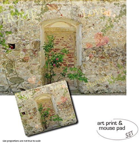 1art1 Muros, Muro De Un Jardín Romantico 1 Póster Impresión Artística (80x60 cm) + 1 Alfombrilla para Ratón (23x19 cm) Set Regalo: Amazon.es: Hogar