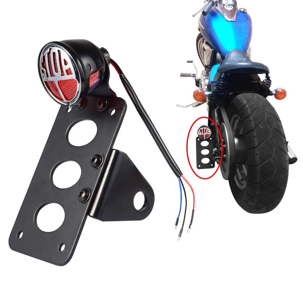 LED Tail light 1 Side Mount License Plate Bracket for Harley Honda Yamaha Suzuki Kawasaki