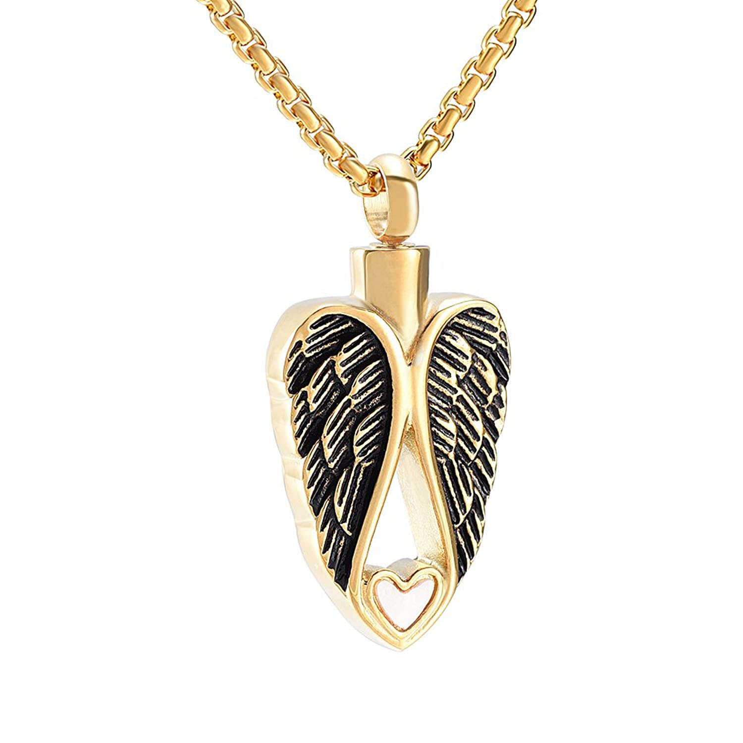 Double Angel Wing With Heart Shell Pet Cremation Jewelry Pendant Urn Necklace For Ashes +Fill Kits