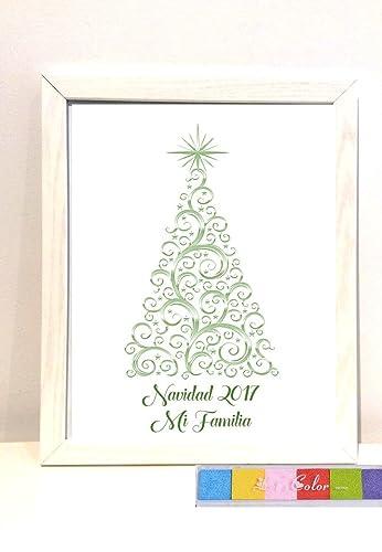 Cuadro de huellas personalizado para Navidad. Digital o impreso con marco. 6 tintas.