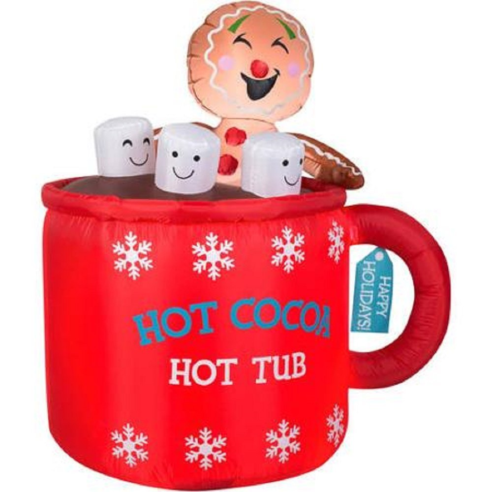 Amazon.com: Hot Cocoa Tub Airblown Inflatable Holiday Decoration ...