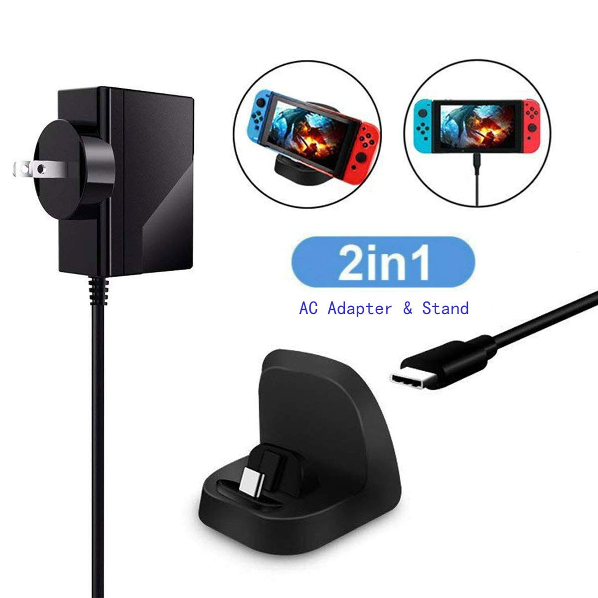 AC Adapter Charger for Nintendo Switch, Nintendo Switch Charging Dock Stand Station with USB Type-C Cable 2 IN 1 Fast Charging Power Delivery 3.0 Portable Power Adapter For Nintendo Switch Accessories
