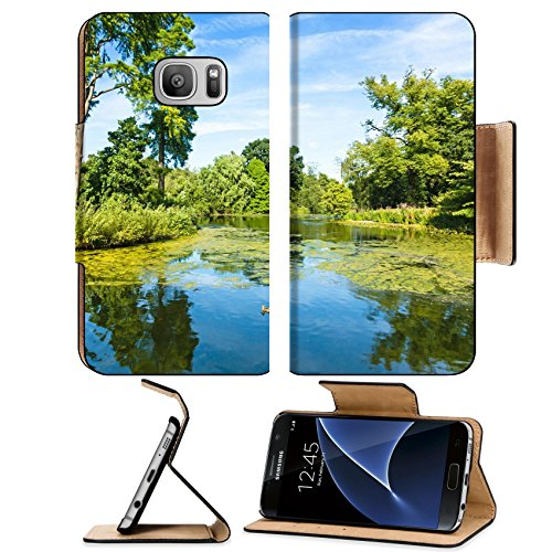 Liili Premium Samsung Galaxy S7 Flip Pu Leather Wallet Case Lush Green Woodland Park Reflecting in Tranquil Pond Sunshine Image ID - Woodlands Drive Lake