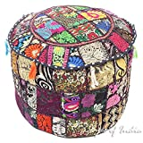 Eyes of India 17 X 12 Black Patchwork Round Pouf Pouffe Ottoman Cover Floor Seating Boho Indian Bohemian