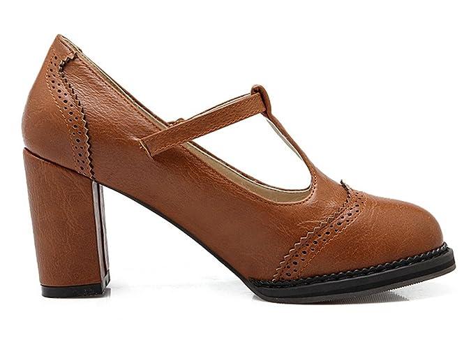 YE Damen Blockabsatz T-strap Runde Zehe Geschlossen Retro 6cm Heels Mary Jane Riemchen Leder Pumps (33.5EU, Braun)