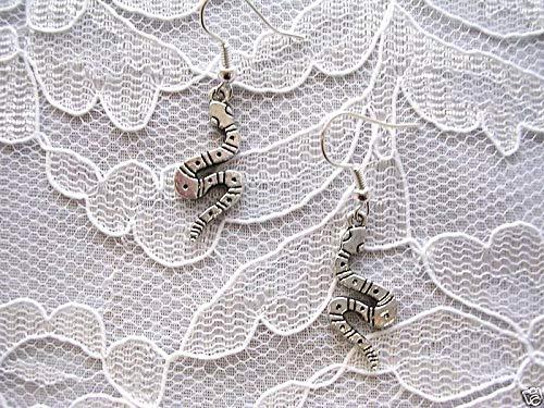 (Wild Serpent Snake Dangle Tibet Silver Pierced Earrings KEZ-1000)