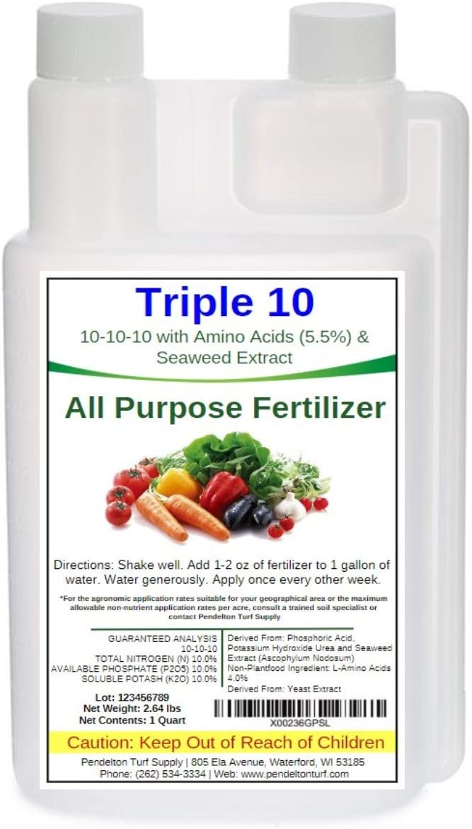 Triple 10 All Purpose Liquid Fertilizer 10-10-10 with Amino Acids (5.5%) & Seaweed Extract (32oz)