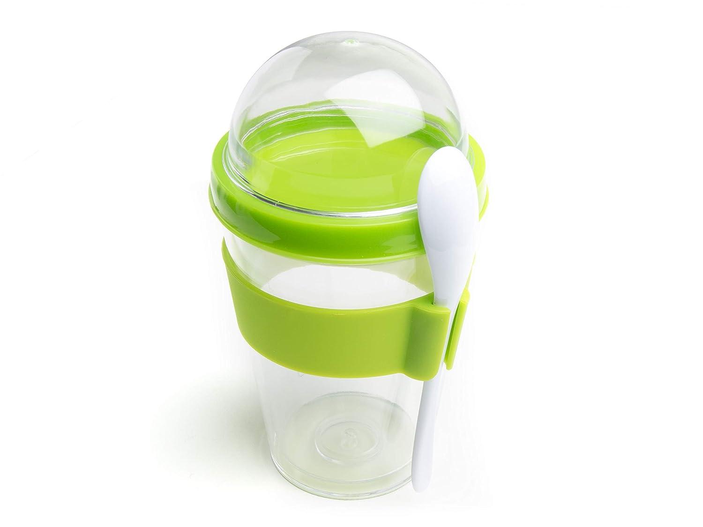 rot 300ml KITCHPRO Joghurt Cup to Go mit M/üsli Container und L/öffel