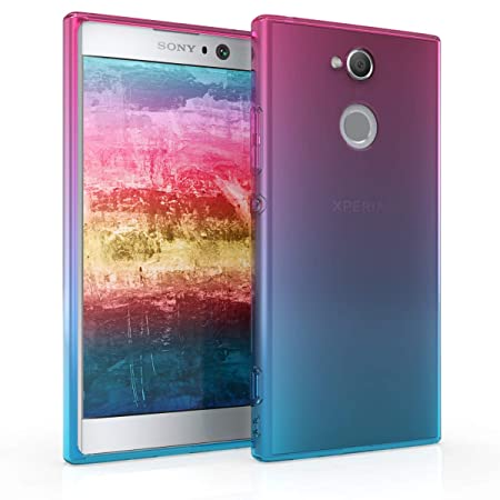 kwmobile Sony Xperia XA2 Hülle - Handyhülle für Sony Xperia XA2 - Handy Case in Pink Blau Transparent