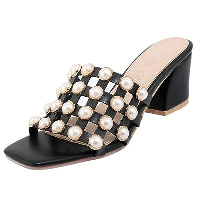 UH Damen Pantoletten Blockabsatz Slingback Slipper Mules mit Perlen Modisch Sommer Schuhe
