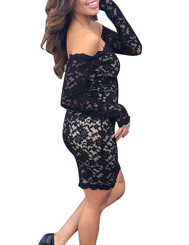 CRAVOG Damen Sexy Spitze Abendkleider Cocktail Partykleid Bodycon Schulterfreies Etuikleid