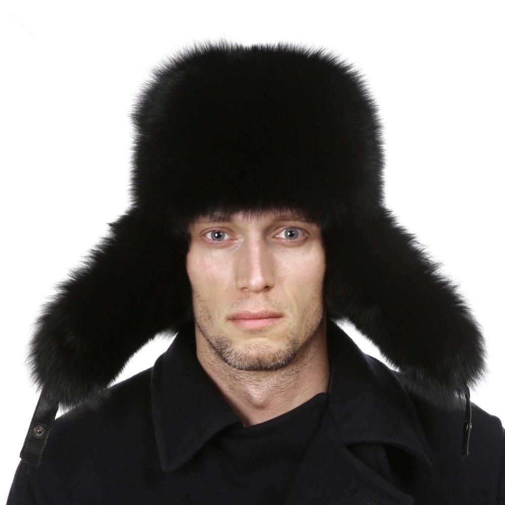 Cappello per Uomo in Pelliccia di Procione Cappello Invernale Stile Russo con Top in Vera Pelle