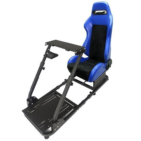 Lenkradständer für Rennsimulator Logitech G29 Thrustmaster mit verstellbarem schwarz-Blauen Streifen PVC Racing Sitz blau bla
