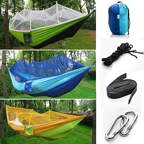 wyhuiキャンプポータブル高強度パラシュート生地ハンモックHangingベッドwith Mosquito Net Sleeping Hammock one size B074FT3GRC  Green & Dark Green one size