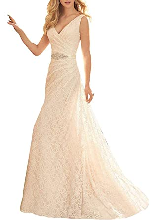 c334e903f81 SOLOVEDRESS Women s Lace Wedding Dress Mermaid Bridal Gowns Prom Dress V  Neck (Ivory