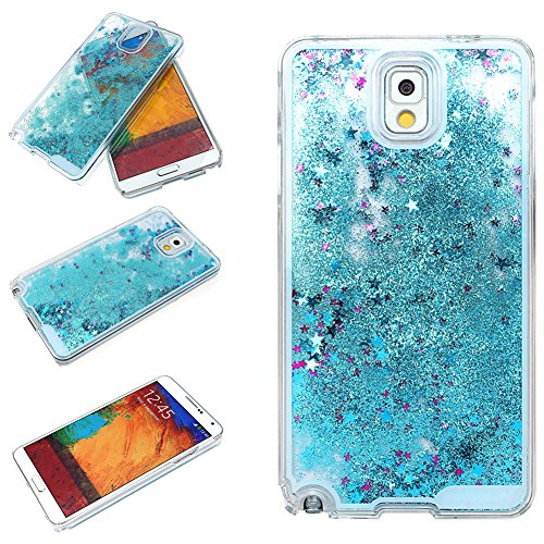 Samsung Galaxy Note 3 Case-Yerwal Creative Design Transparent Flowing Bling Glitter Quicksand Stars Hard Plastic Transparent Case Cover (Phone Case Samsung Note 3)