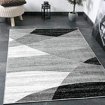 Wunderbar Teppich Wohnzimmer Modern Geometrisches Muster Gestreift Meliert In Grau  Weiß Schwarz 60x110 Cm