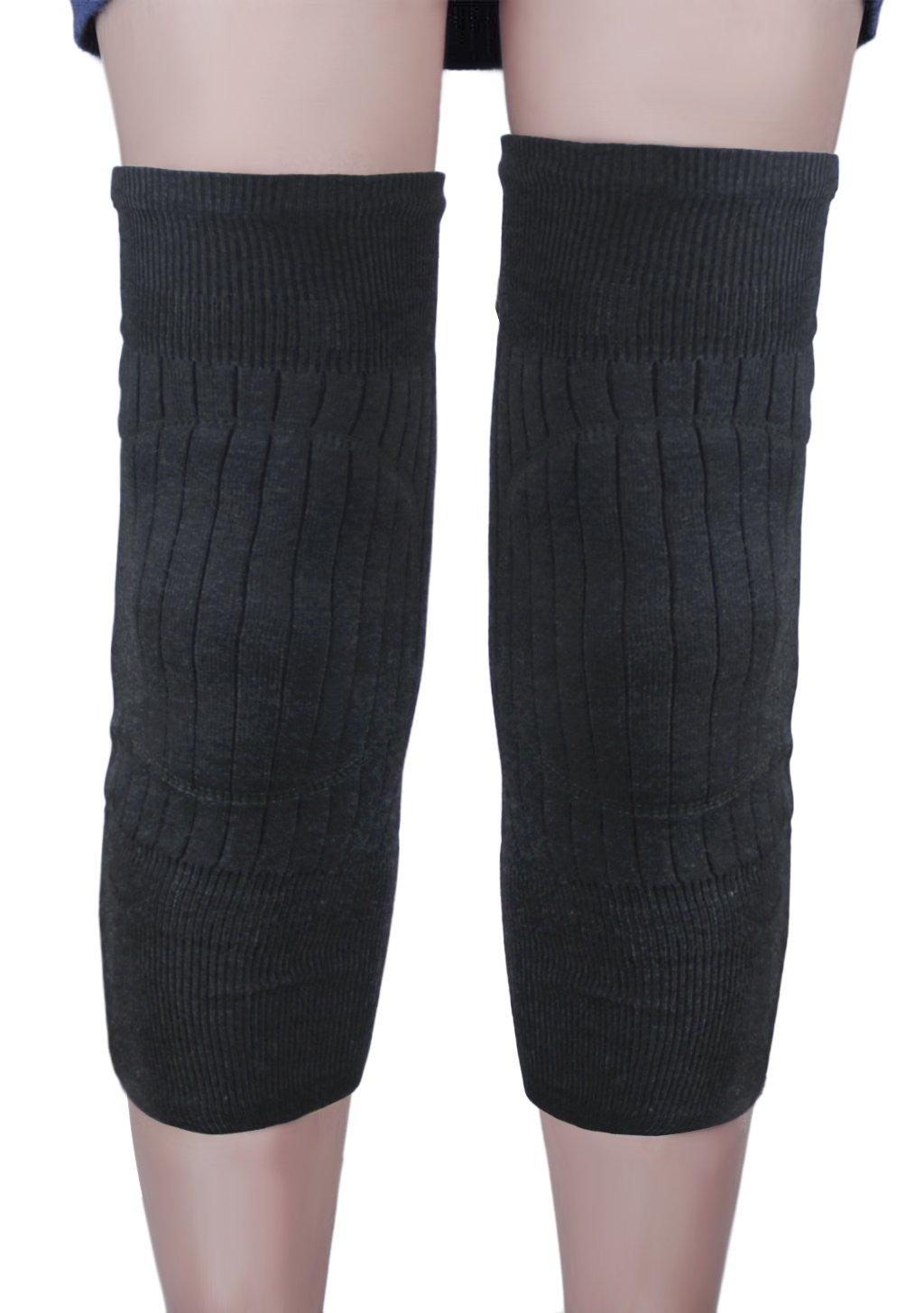 メンズレディース厚み付けロング伸縮性膝脚スリーブWarmers通気性熱カシミアパッド入り膝ブレースラッププロテクターパッドサポートレギンスストッキングのアウトドアスポーツ関節炎炎 B01N4054E0 ディープグレー
