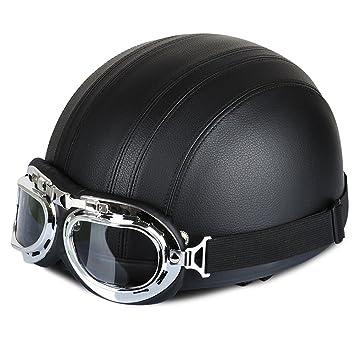 Amazonfr Annong Casque De Moto Et Velo Bol Lunettes Retro Style