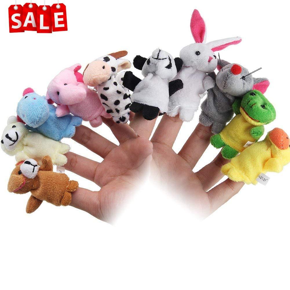 Lumiparty 10 Stück Fingerpuppen,Stofftier Kinder Lernspielzeug,Weiche pädagogische Handpuppe Set für Baby und Kleinkinder (10er) Hihoddy