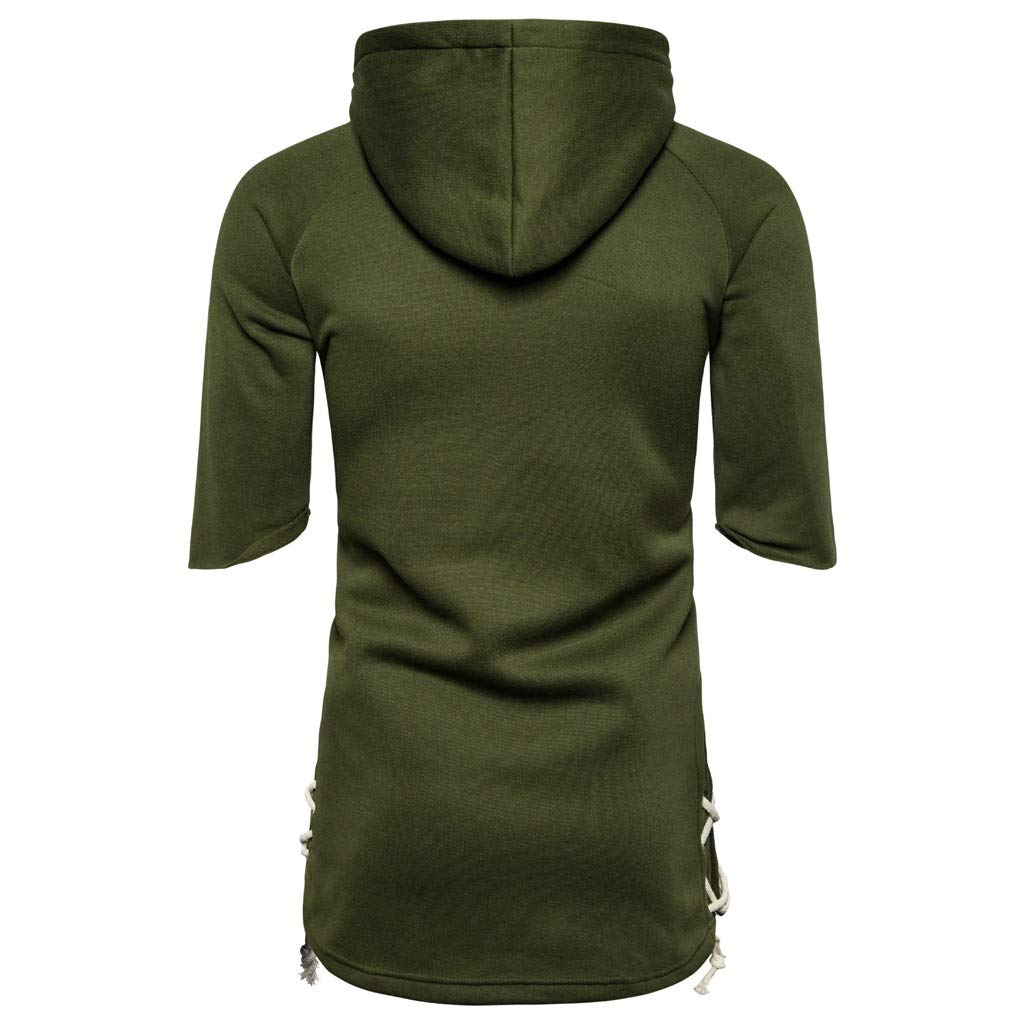 Mr.Macy Men Zipper Patchwork Hooded Pocket Half Sleeve Solid Color Loose Blouse Shirt