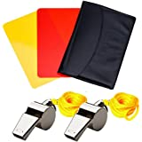 nuosen Referee Kit, Sports Referee Card Referee Card Set Red Card Yellow Card and Metal Referee Whistle Coach Whistle for Football Soccer