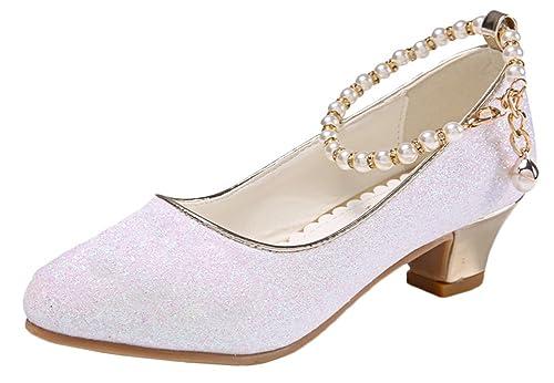 Scothen Princesa Jalea Fiesta Zapatos de tacón Alto Sandalias Zapatos de tacón  Alto Bailarina Zapatos Festivos niñas Zapatos Zapatos de Bautizo comunión  ... 79657758ae563