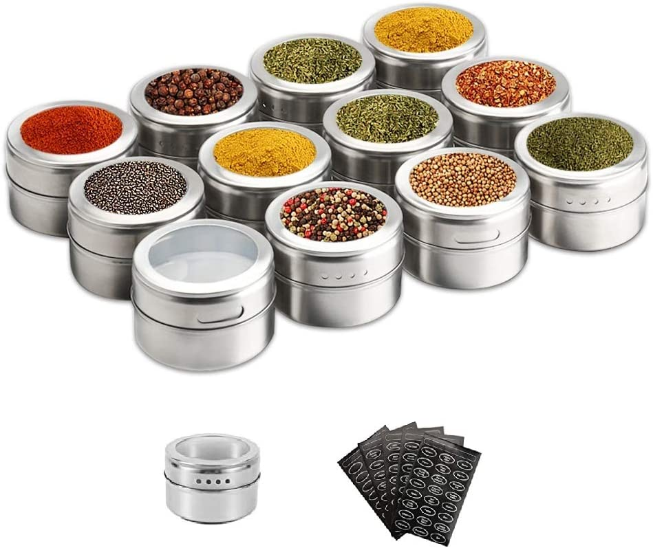 WeChip Landw 12 PCS Magnetic Spice Tins,Stainless Steel Spice Jar Containers,Spice Jars Organizer, Seasoning Organizers Includes 120 Labelling Stickers