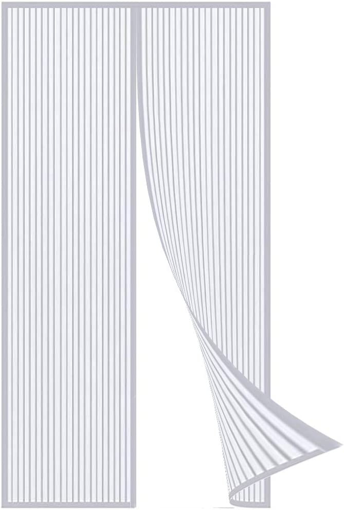 185 x 210 cm Cortina Mosquitera Magn/ética Cierre Autom/ático y Velcro Adhesiva F/ácil de ensamblar Tejido S/úper Fino para Dejar Pasar El Aire para Puertas