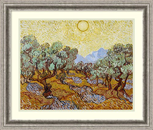 Framed Art Print 'Olive Trees, 1889' by Vincent Van Gogh: Outer Size 26 x 22