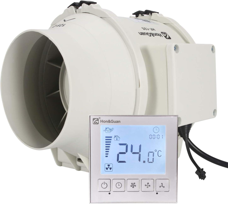 Hon&Guan ø125mm Ventilador Extractor de Aire con Temporizador y Controlador Inteligente , 310m³/h (ø125mm)
