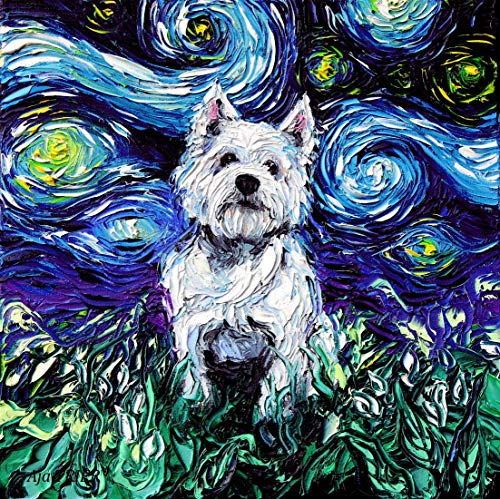 White Terrier West Highland Photos - Starry Night Westie West Highland Terrier Art by Aja choose size and type of paper