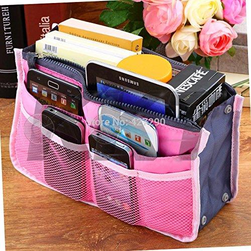 UltiSmart(TM) Bag in Bag,Double Zipper Portable Multifunctional Travel Pockets Handbag Storage Bag,Fadish Travel Organizer Makeup Bag