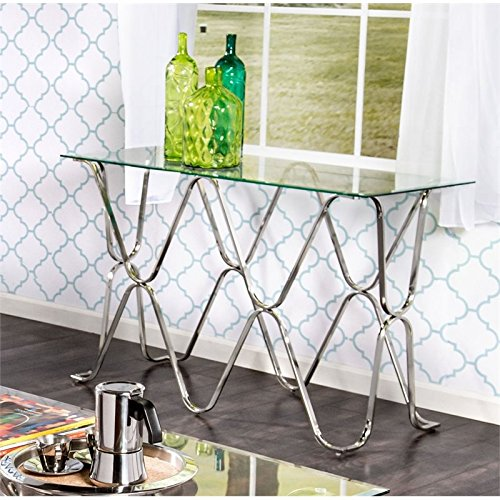 Cheap Furniture of America Hobbs Glass Top Console Table in Chrome
