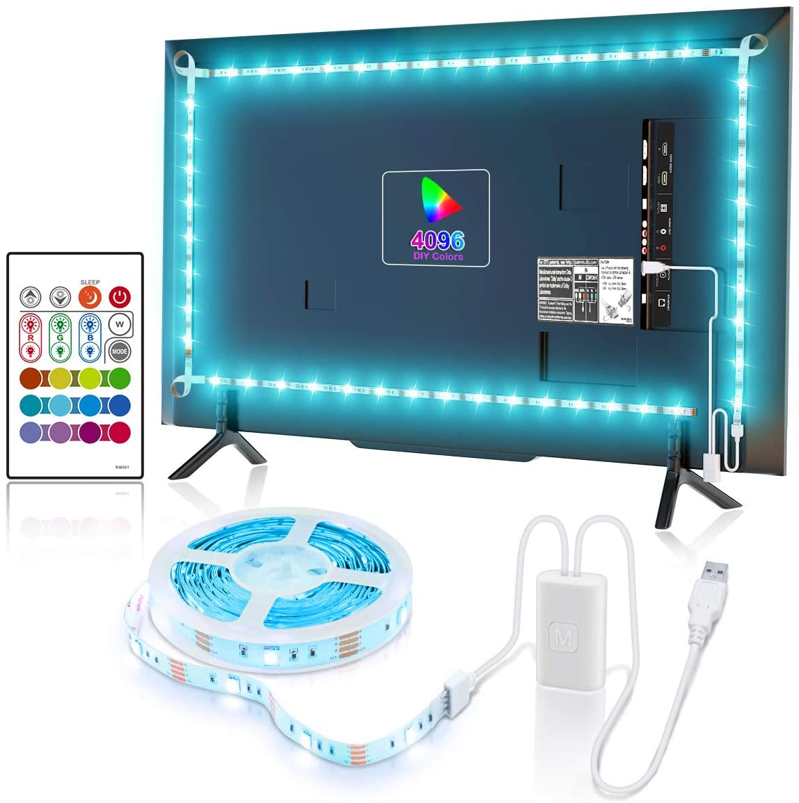 YEEMAYLUX TV LED Backlight, TV Light with 2 Control Methods for 32-58 inch TV/Monitor, SMD5050 RGB Multicolored LED Light Strip with 4096 Color for Game Room,Home Theatre,Bring Better Visual Effect