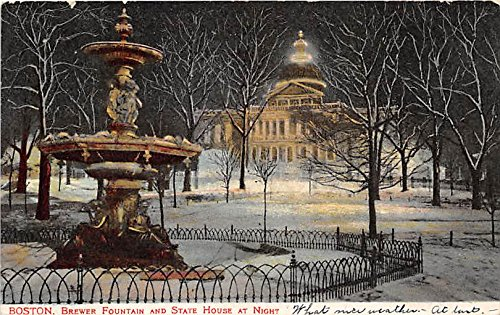 Brewer Fountain & State House Boston Massachusetts Postcard