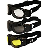 Three (3) Pairs Birdz Eagle Padded Motorcycle Goggles Airsoft Googles Comes with Clear, Smoke, and Yellow Day and Night…