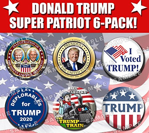 DONALD TRUMP SUPER PATRIOT 6 PACK! - SIX OF MY MOST POPULAR BUTTONS! - Inauguration x2! - Deplorables! - Trump Train! - Captain America! - I Voted Trump! - Pins Badges - New Release! - Inauguration Pinback Button
