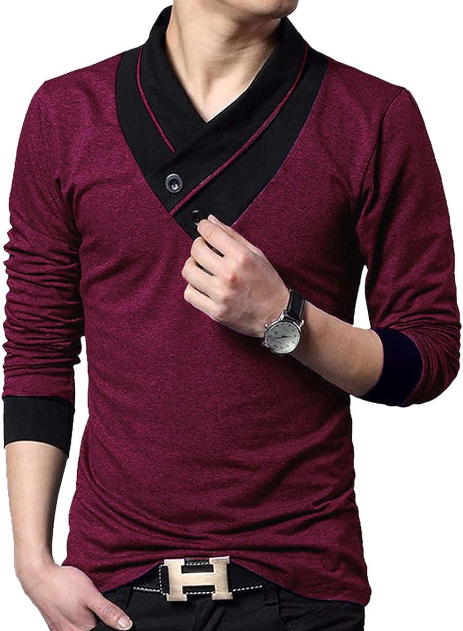 EYEBOGLER V-Neck Shawl Collar Stylish Men's Solid T-Shirt,t shirt for mens india, t shirt for men online, polo t shirts, sport t shirt, black t shirt, blue t shirt, white t shirt,Amazon,