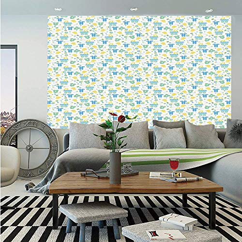 SoSung Baby Wall Mural,Retro Newborn Items Stroller Rubber Duck Milk Bottle Pin Pyjamas Pattern Decorative,Self-Adhesive Large Wallpaper for Home Decor 83x120 inches,Blue Yellow Mint Green