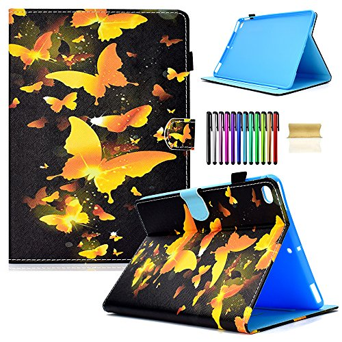 Gold Butterfly Print Dog iPad 9.7 inch 2018 2017 Case/iPad Air Case/iPad Air 2 Case PU Leather Folio Smart Cover with Auto Sleep Wake Stand Wallet Case for Apple iPad ()