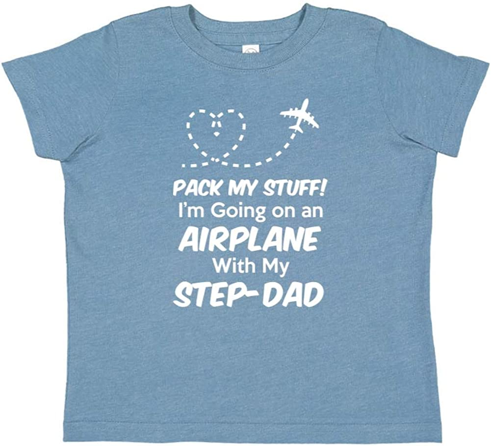 Pack My Stuff Toddler//Kids Short Sleeve T-Shirt Im Going On an Airplane with My Step-Dad