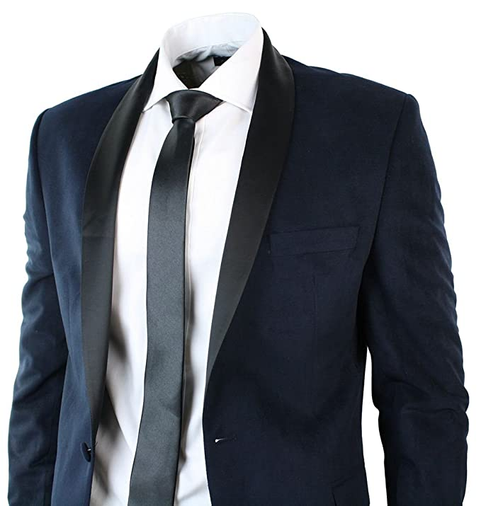 Mens Slim Fit Velvet Navy Blue Suit Black Shawl Round Collar