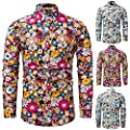 Birdfly Men's Floral Printed Long Sleeve Shirts Fashion Cultivation Blouse Shirts White