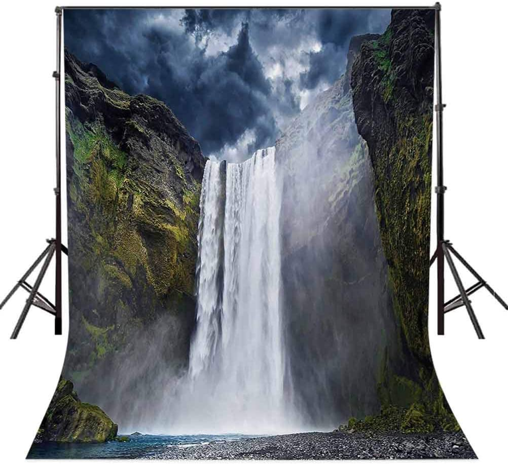 Waterfall 10x12 FT Photography Backdrop Waterfall and Grand Cliffs in Northern America Force of Nature Art Print Background for Child Baby Shower Photo Vinyl Studio Prop Photobooth Photoshoot